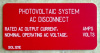 "2"" X 4"" Engraved Solar Placard - ""PHOTOVOLTAIC SYSTEM AC DISCONNECT, CURRENT / VOLTAGE....."""