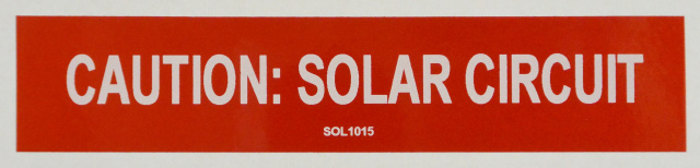 "SOL1015 - 5"" x 1"" -  ""CAUTION: SOLAR CIRCUIT"""