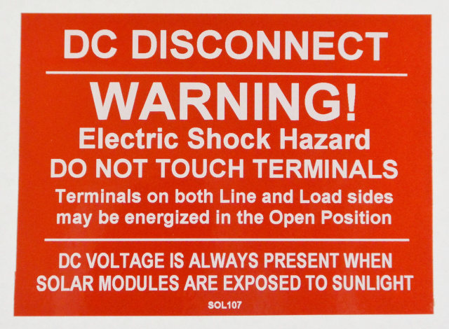 "SOL107 - 4"" X 3"" - ""DC DISCONNECT, WARNING! ELECTRIC SHOCK HAZARD, DO NOT TOUCH TERMINALS. Terminals"