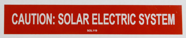 "SOL119 - 6"" X 1"" - ""CAUTION: SOLAR ELECTRIC SYSTEM"""