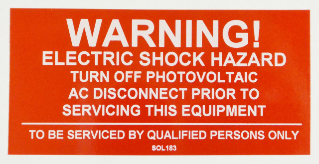"SOL183 - 4"" X 2"" - ""WARNING! ELECTRIC SHOCK HAZARD, TURN OFF PHOTOVOLTAIC AC DISCONNECT PRIOR TO SER"