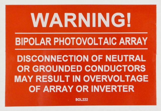 "SOL222 - 4"" X 2.75"" - ""WARNING! BIPOLAR PHOTOVOLTAIC ARRAY, DISCONNECTION OF NEUTRAL OR GROUNDED CON"
