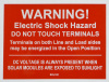 "SOL102 - 4"" x 3"" - ""WARNING! ELECTRIC SHOCK HAZARD, DO NOT TOUCH TERMINALS Terminals on both Line and Load sides may be energized in the open position. DC VOLTAGE IS ALWAYS PRESENT WHEN SOLAR MODULES ARE EXPOSED TO SUNLIGHT"