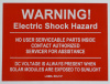 "SOL137 - 4"" X 4"" - ""WARNING! ELECTRIC SHOCK HAZARD, NO USER SERVICABLE PARTS INSIDE CONTACT AUTHORIZED SERVICER FOR ASSISTANCE, DC VOLTAGE IS ALWAYS PRESENT WHEN SOLAR MODULES ARE EXPOSED TO SUNLIGHT"""