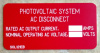 "2"" X 4"" Engraved Solar Placard - ""PHOTOVOLTAIC SYSTEM AC DISCONNECT, CURRENT / VOLTAGE"""