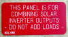"2"" X 4"" Engraved Solar Placard - ""THIS PANEL IS FOR COMBINING SOLAR INVERTER OUTPUTS....."""